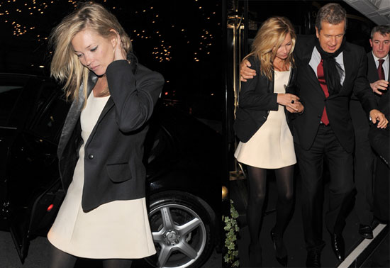 Photos of Kate Moss, Who's Naked on the Cover of Love Magazine, Leaving Scott's in London With Mario Testino