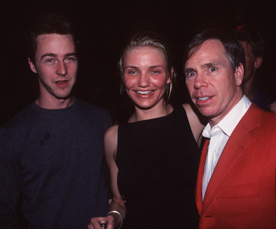 Ed Norton and Cameron Diaz celebrated at Tommy Hilfiger's post-Super Bowl party in 1999.