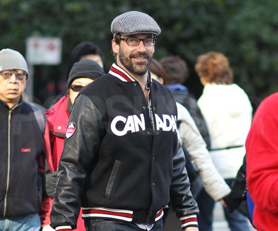 Slide Photo of Jon Hamm Wearing Canada Jacket in Vancouver