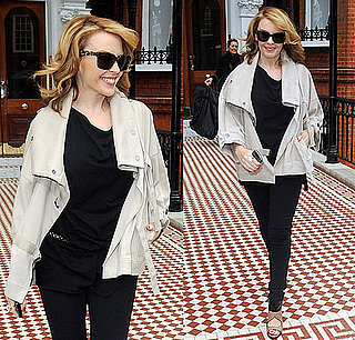 Kylie Minogue Wears a Khaki Anorak and Black Leggings Leaving Her Home in London