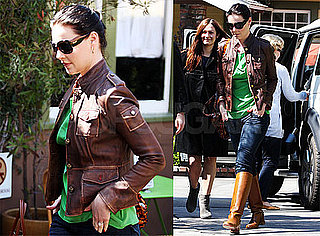 Photos of Katherine Heigl Wearing a Brown Leather Jacket and With Darker Hair in Los Angeles