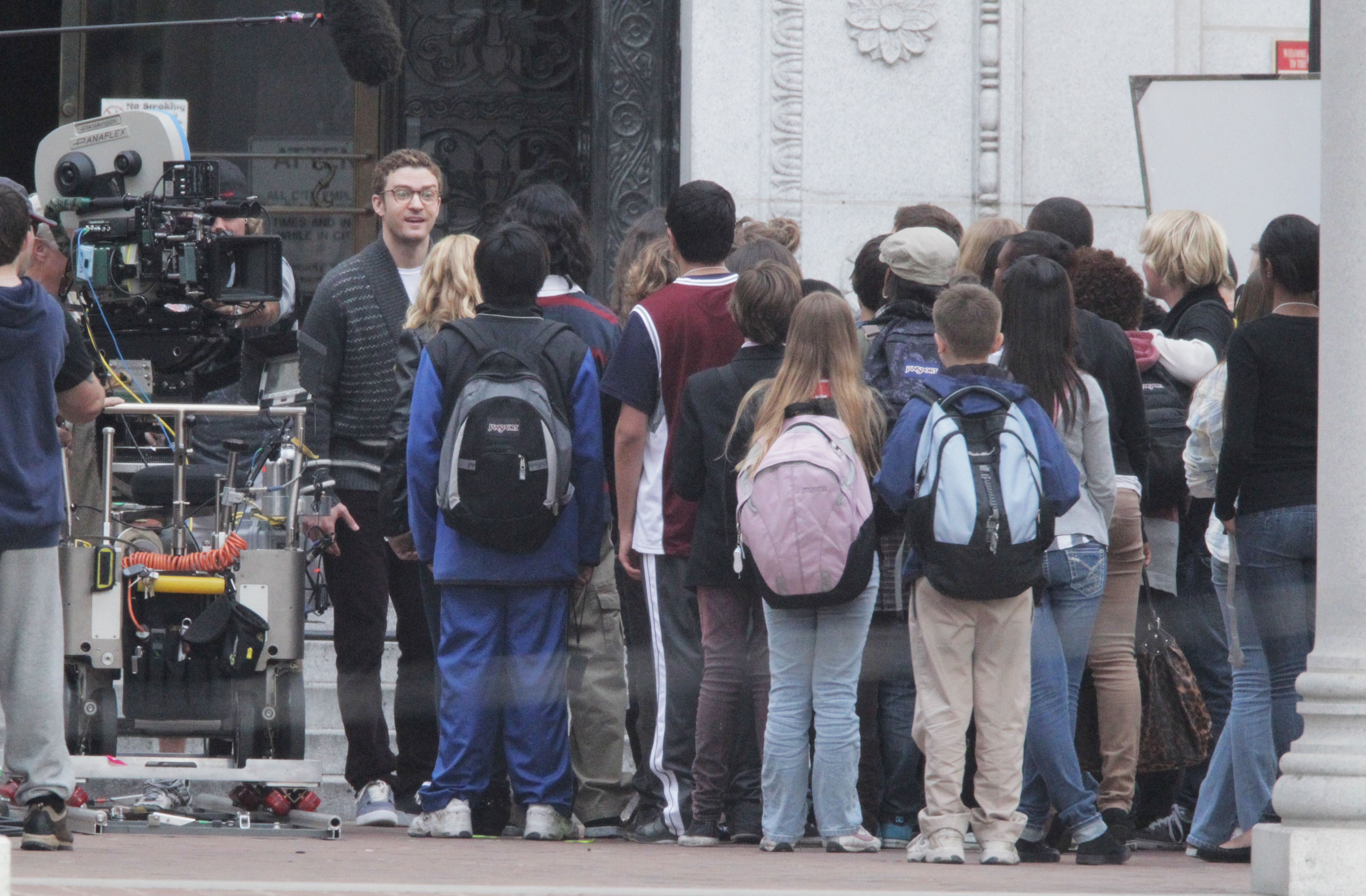 Photos of Justin and Cameron on Set