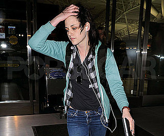 Slide Photo of Kristen Stewart Arriving at the Airport in NYC Before Runaways Premiere