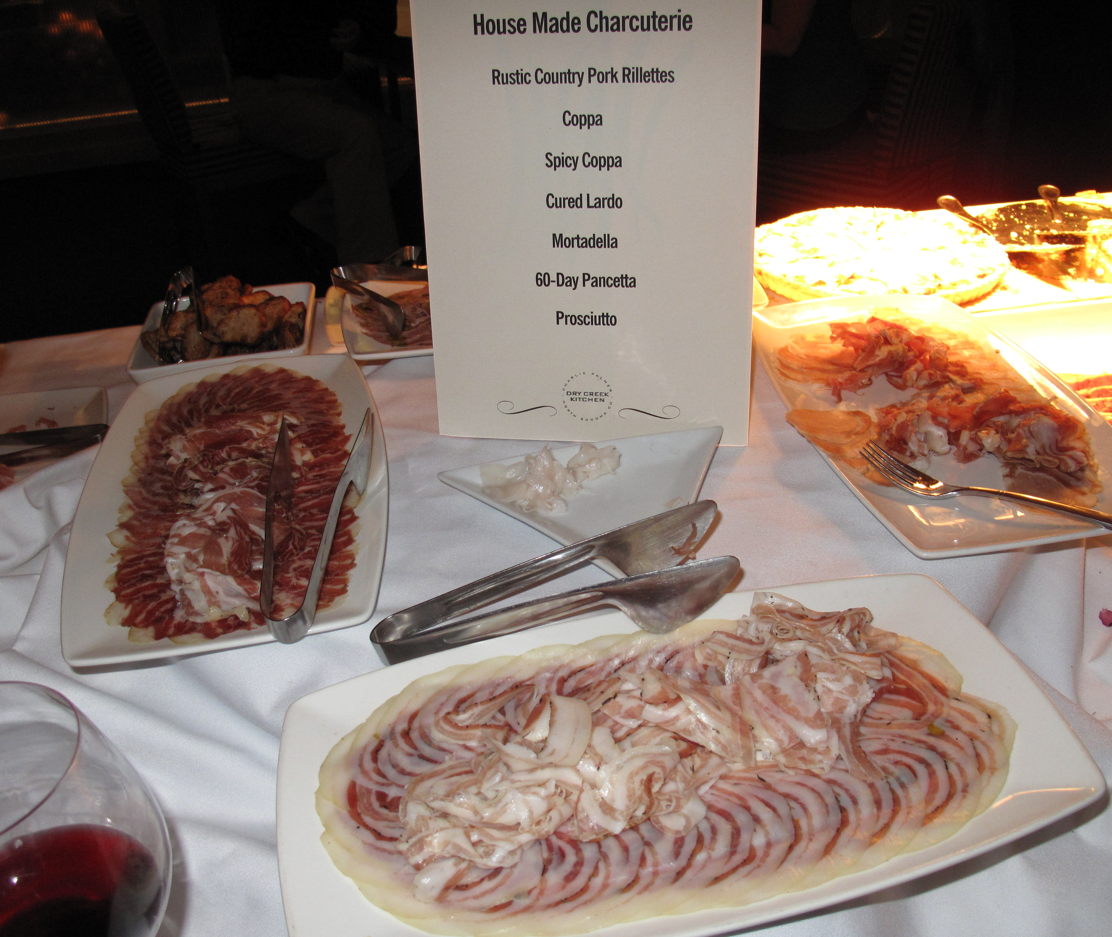 The event had many impressive indoor stations. One of them was a charcuterie table, covered with platters of every salumi imaginable, from coppa to lardo to mortadella.