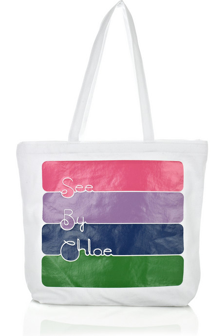 See by Chloé Stripy Printed Canvas Tote, approx $98.27 from Net-A-Porter