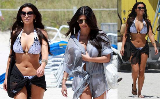 Photos of Kim and Kourtney Kardashian in Bikinis in Miami