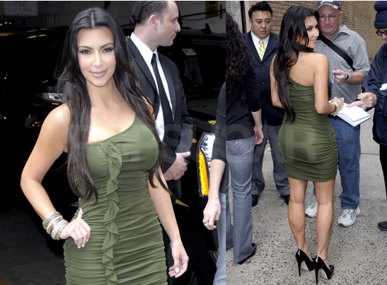 Photos of Kim Kardashian Visiting Live With Regis and Kelly Wearing a Green Dress