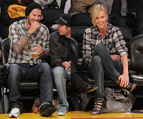 David Beckham and Charlize Theron Wear Plaid and Dark Denim at LA Lakers Game