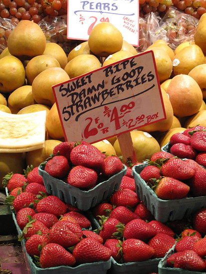These aren't just any old strawberries — they're sweet, ripe, damn good strawberries!
