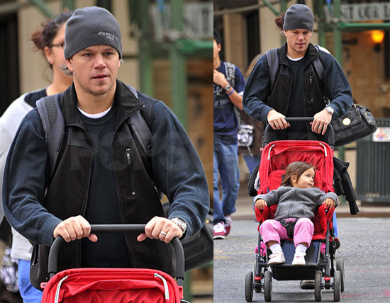Pictures of Matt Damon Walking With Daughter Gia Damon While Pregnant Wife Luciana Stayed at Home