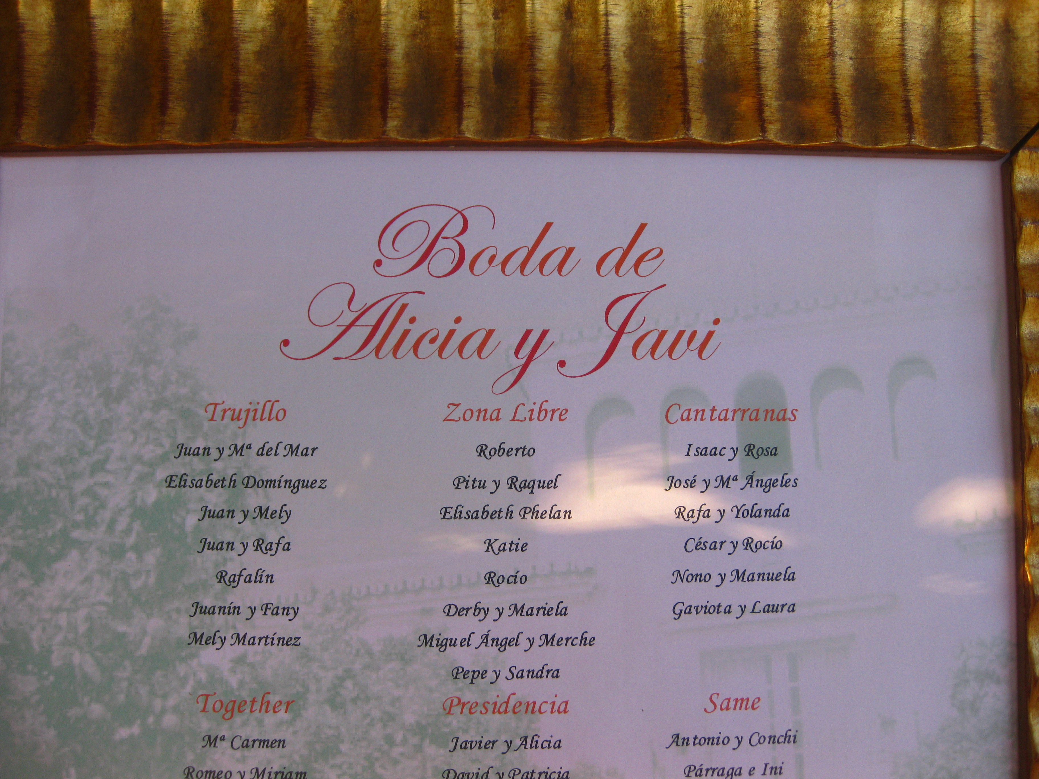 I was seated at the Zona Libre table. Zona Libre was the name of the bar where I first befriended the groom.