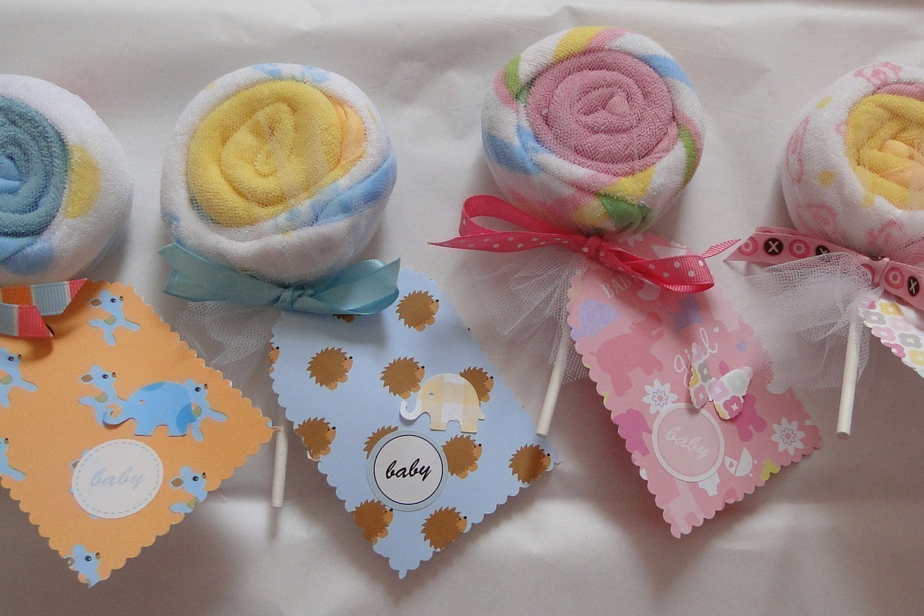Wash Cloth Lollipops ($5)