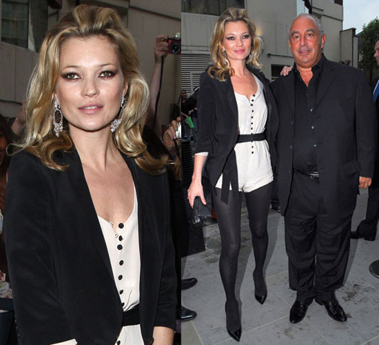 Kate Moss Wears Topshop Jumper at Topshop Opening in Knightsbridge, London