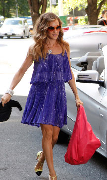 Carrie Bradshaw in Purple Halston Dress in Sex and the City 2