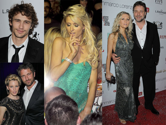 Pictures of James Franco, Russell Crow, Paris Hilton, and More at the Artists For Peace and Justice's Fundraiser in Cannes 2010-05-21 13:30:00