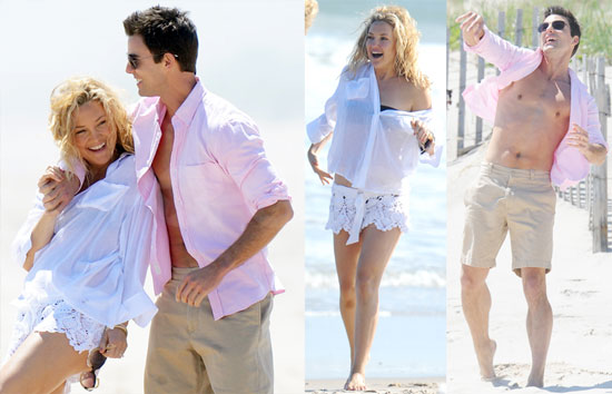 Pictures of Kate Hudson and Colin Egglesfield Filming Something Borrowed on the Beach