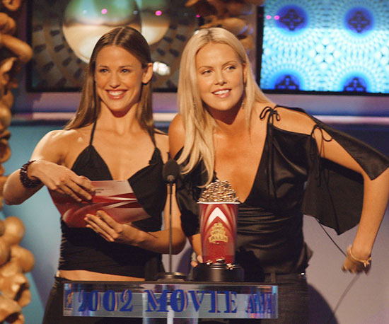 Jennifer Garner and Charlize Theron presented together at the 2002 award show.