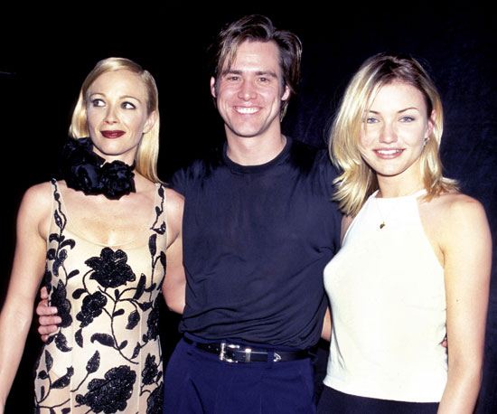 Jim Carrey posed with his girlfriend, Lauren Holly, and Cameron Diaz at the 1995 awards.