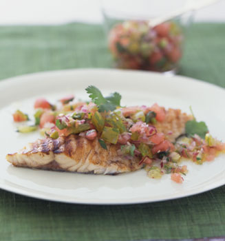 Recipe For Grilled Bass With Green Tomato and Watermelon Salsa