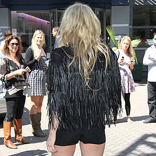 Blond Celebrity Showing Off Legs in Tiny Shorts