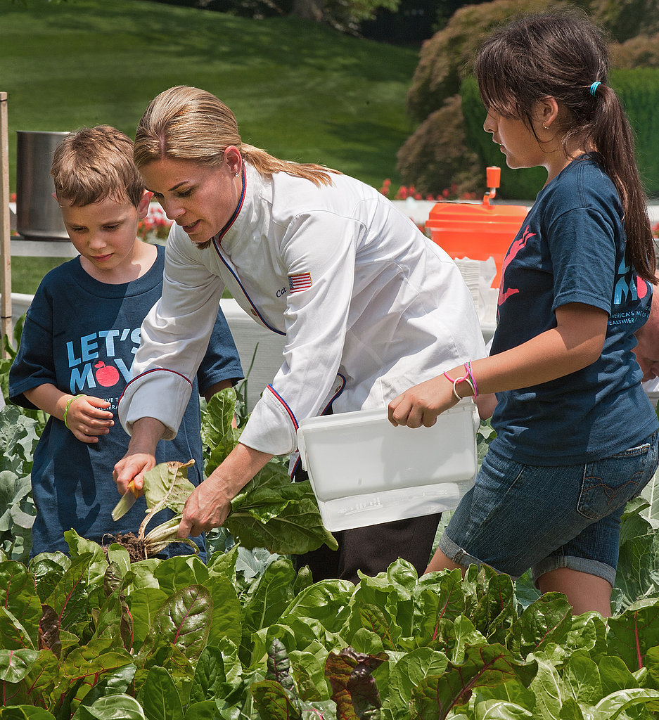 Also on hand was Iron Chef Cat Cora, who also helped harvest vegetables from the White House garden.