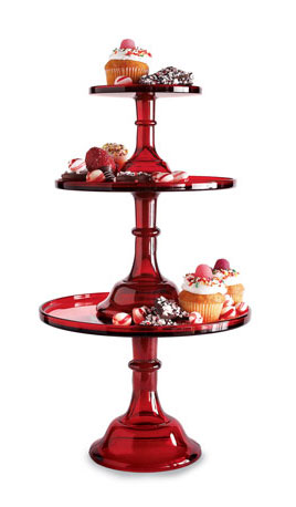 If you're looking for something dramatic, these glass Red Cake Stands ($40-90) would be perfect.