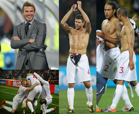 Hot Pictures of England Football Team Shirtless At World Cup 2010 in South Africa Playing USA 1-1 Draw