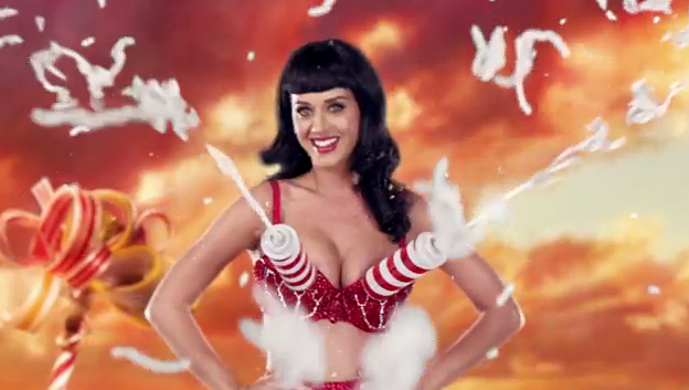 Katy's bra spews out whipped cream — so fun!