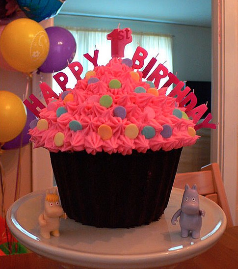 Birthday Cake Ideas With Cupcakes : One Giant Cupcake Baby Cakes: First Birthday Cake Ideas ...