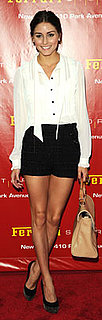 Olivia Palermo in White Top and Black Shorts at Ferrari Store Opening
