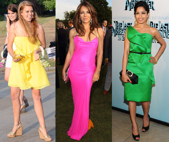 Photos of Princess Beatrice, Elizabeth Hurley and Freida Pinto in Bright Coloured Dresses