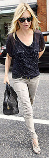 Kate Moss Wears Tee and Gray Jeans in London
