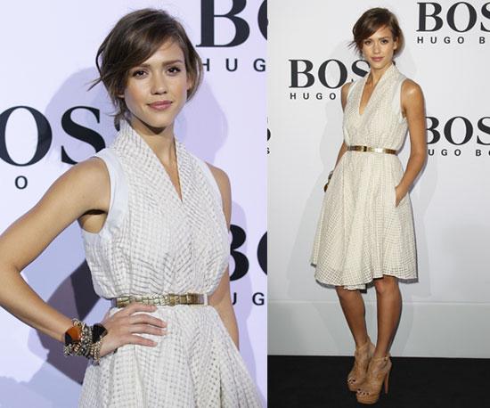 Jessica Alba Attends Hugo Boss Fashion Show Wearing Off-White Knee-Length Dress