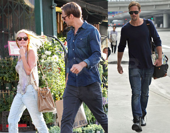 Pictures of Alexander Skarsgard at LAX Holding a Book