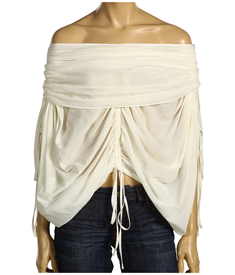 This Robert Rodriguez Chiffon Rouched Top ($203, originally $280) is extremely unflattering — is she wearing it upside down?