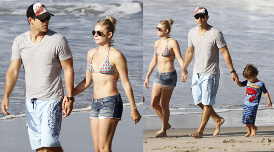 Pictures of LeAnn Rimes at the Beach in a Bikini With Eddie, Mason, and Jake Cibrian