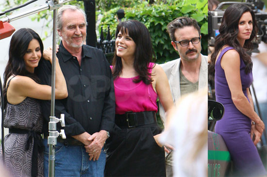 Pictures of Courteney Cox, David Arquette, and Neve Campbell on the Set of Scream 4