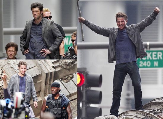 Pictures of Shia LeBeouf, Patrick Dempsey and Josh Duhamel Filming Transformers 3 in Chicago