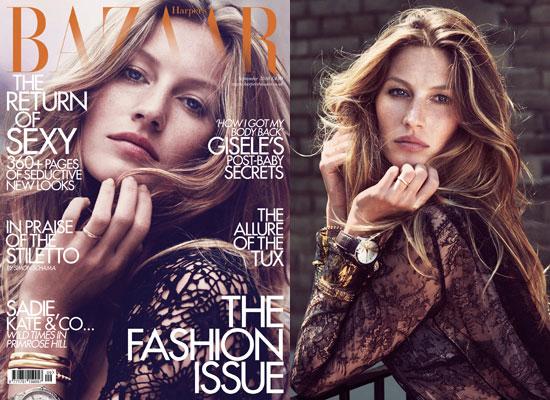 Pictures of Gisele Bundchen on Harper's Bazaar UK September Issue 2010 Cover