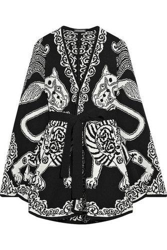 Alexander McQueen|Wool intarsia cape|NET-A-PORTER.COM 1675