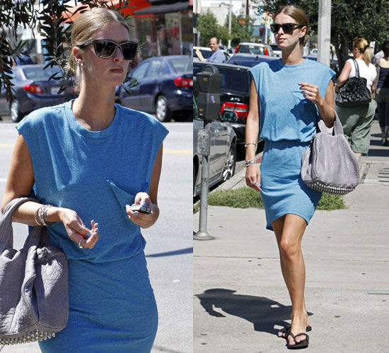 Pictures of Nicky Hilton Wearing Blue Dress and Alexander Wang Bag