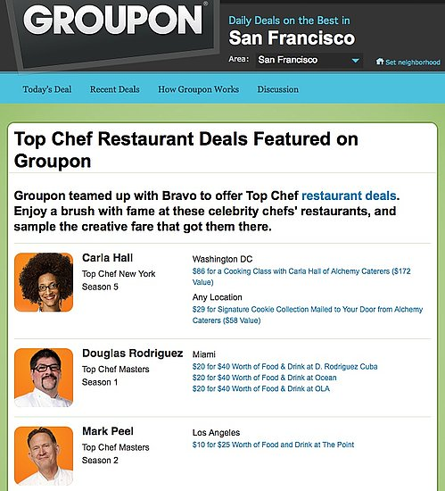Bravo Partners With Groupon For Top Chef Restaurant Deals
