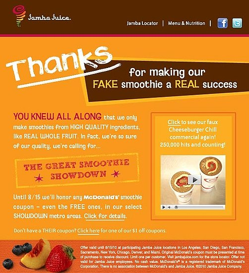 Jamba Juice Fights Back at McDonald's With Smoothie Deal