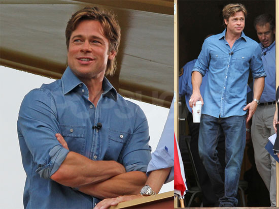 Pictures of Brad Pitt Doing an Interview With Brian Williams in New Orleans