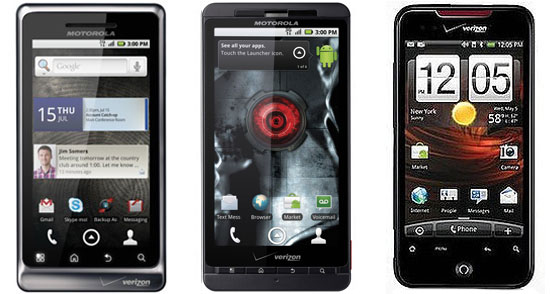 Droid X vs. Droid Incredible vs. Droid 2
