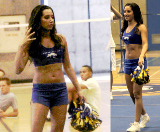 Pictures of Ashley Tisdale Showing Off Her Abs and Practicing Her Cheers on the Hellcats Set