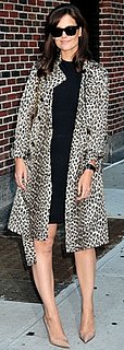 Katie Holmes Wears a Leopard Print Trench