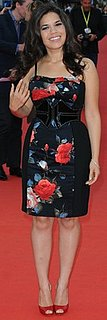 America Ferrera Wears a Floral Black Halo Dress