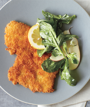 Recipe For Crispy Pork Cutlets With Arugula and Apple Salad