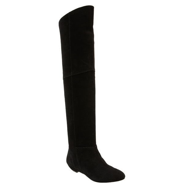 Over-the-Knee, Black Suede Flat Boots